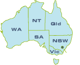 Map of Australia, with inks to contact pages for each state and territory